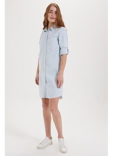 Lee Cooper Gömlek Elbise Mavi